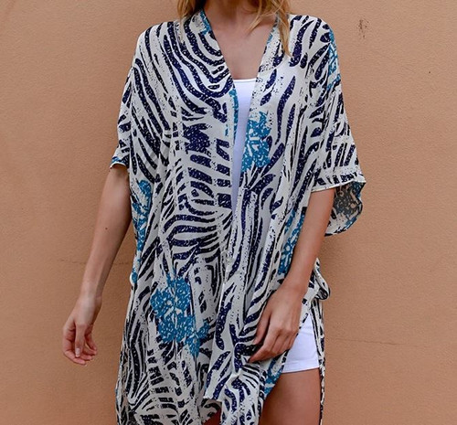 Blue Zebra Print Light Cape