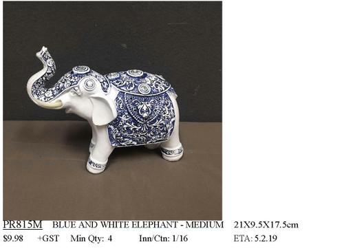 Blue & White Swirl Elephant Ornament