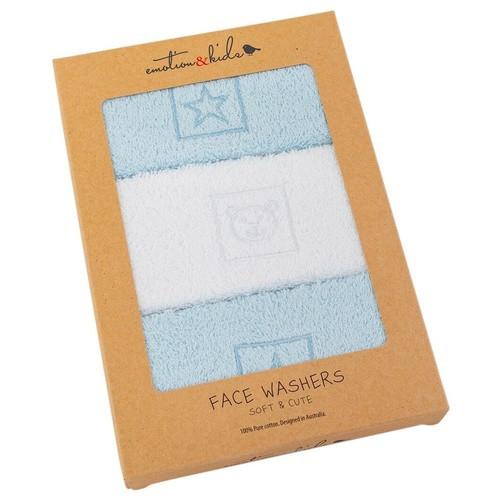 Blue Stars & Teddy Facewasher Set