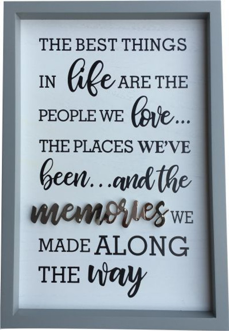 Grey & White Memories Wall Plaque
