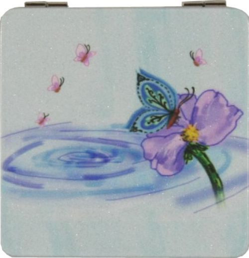 Butterfly On Lotus Compact Mirror