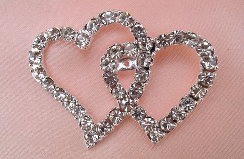 Diamante Double Heart Brooch