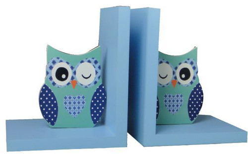 Blue & Green Owl Wooden Bookends