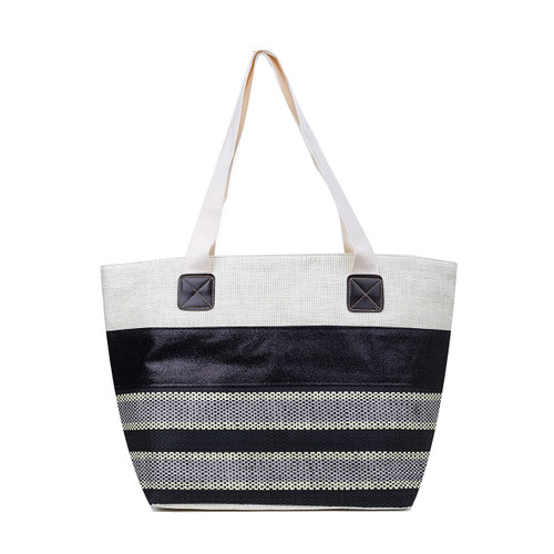 Black/Cream Striped Beach Bag