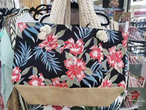Red Tropical Flowers Beach Bag