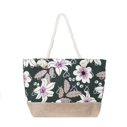 Green Floral Beach Bag
