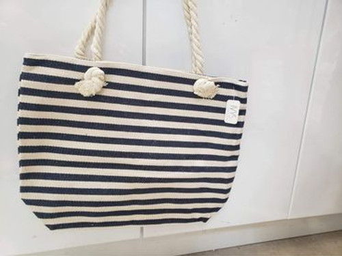 Navy & White Striped Beach Bag