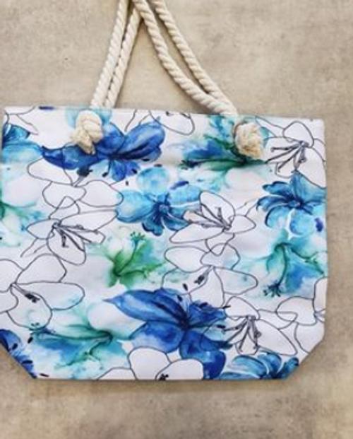 Blue & Green Lilies Beach Bag