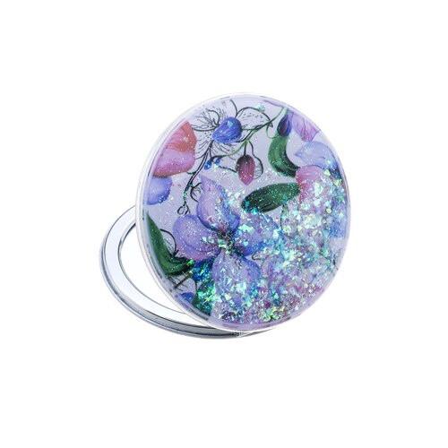 Glitter Flowers Compact Mirror
