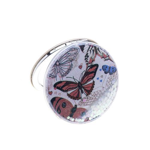 Glitter Monarch Butterfly Compact Mirror