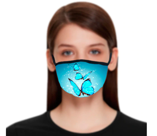 Bright Blue Butterflies Reusable Face Mask