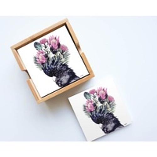 Flower Cockatoo Ceramic Coaster Set