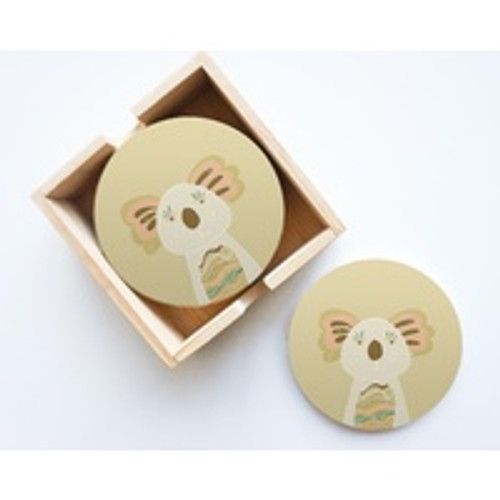 Koala Round Ceramic Coaster Set