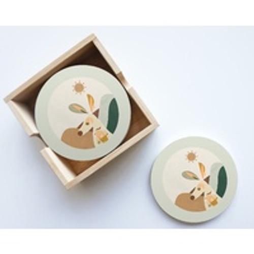 Kangaroo Round Ceramic Coaster Set