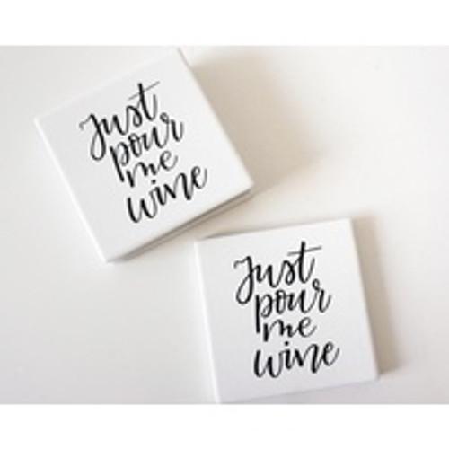 Pour Me Wine Ceramic Coaster Set