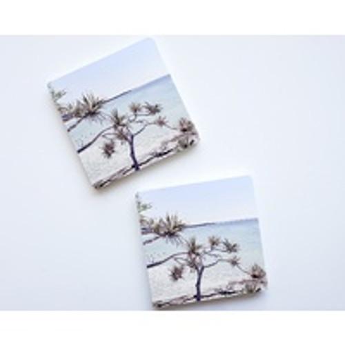 Beach Trees Ceramic Coaster Set