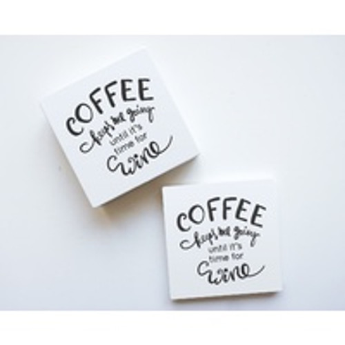 Coffee Then Wine Ceramic Coaster Set
