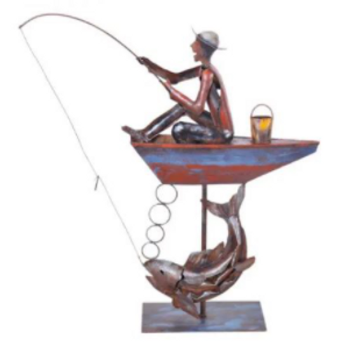 Fishing Abstract Metal Sculpture