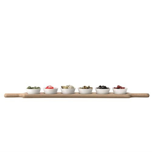 Long Oak Paddle & Bowl Set 77cm