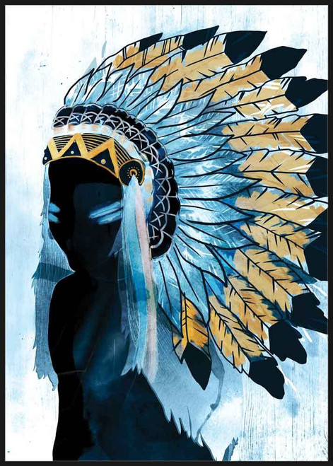 Blue Native American Woman Canvas 62x92cm