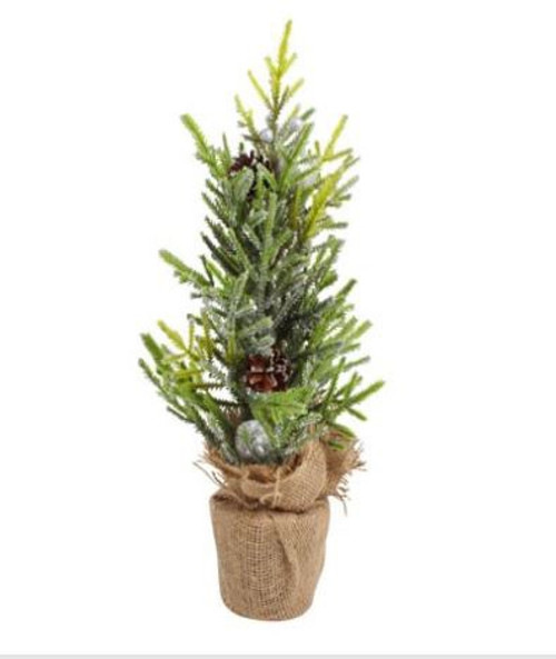 Frosted Xmas Tree in Burlap Pot