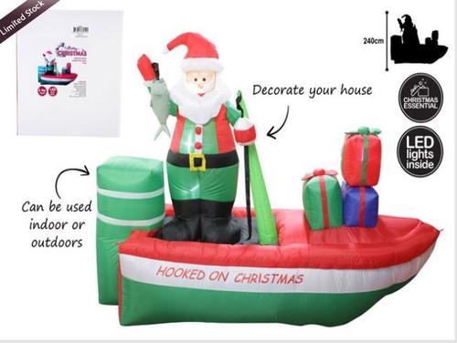 Inflatable Santa Fishing on Boat 2.4m