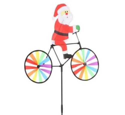 Cycling Santa Windmill Garden Stake