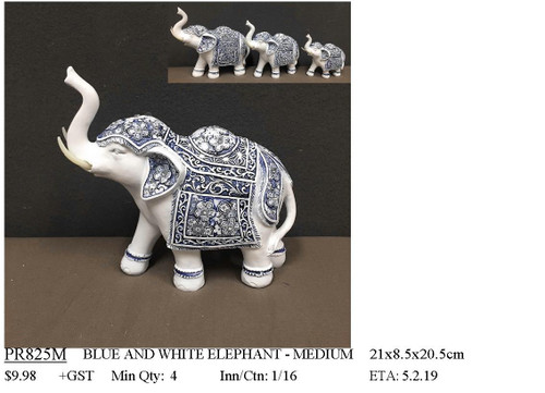 Blue & White Flower Elephant