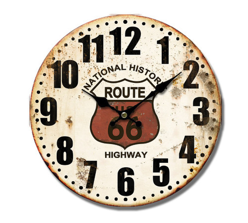 Route 66 Metal Clock 40cm