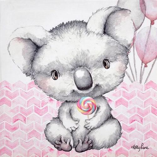 Lollipop Koala Canvas 20x20cm