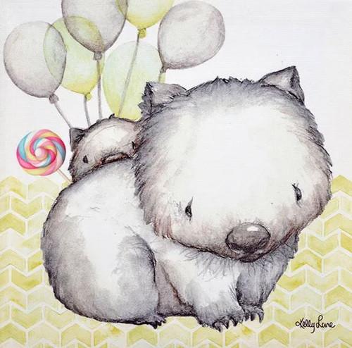Lollipop Wombats Canvas 20x20cm