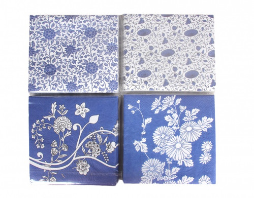 Blue & White Pattern Napkins