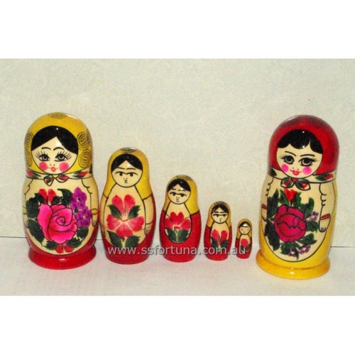 Red Traditional Babushka 5 Set 11cm