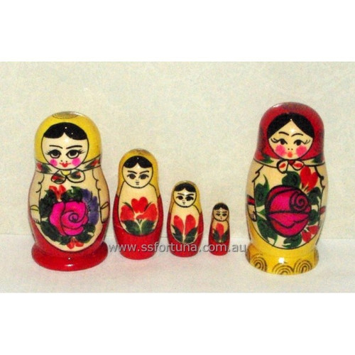 Red Traditional Babushka 4 Set 9cm