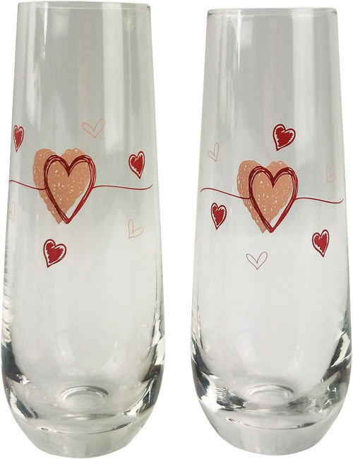 Pink Hearts Champagne Glass