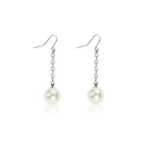 Cream Pearl Chain Drop Earrings