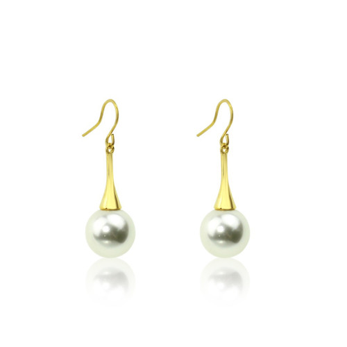 Cream Glass Pearl Cone Drop Earrings