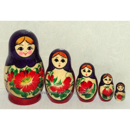 Purple Traditional Babushka 5 Set 9cm