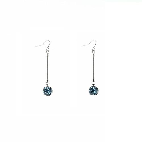 Aquamarine Crystal Chain Drop Earrings