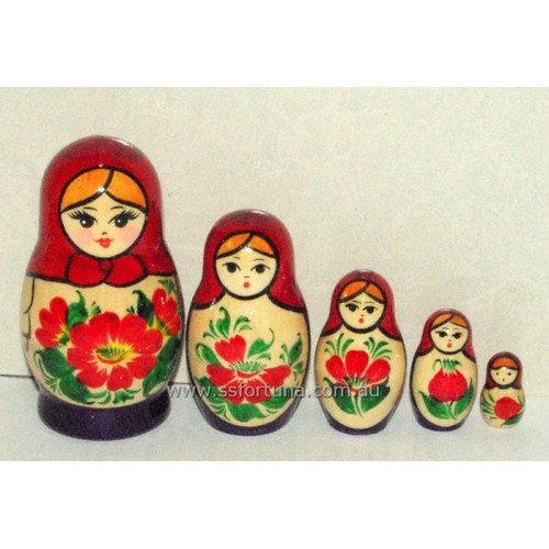 Red Traditional Babushka 5 Set 9cm