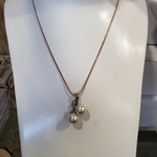 Rose Gold Geometric Pearl Necklace
