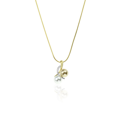 Intertwined Gold & Silver Pearls Necklace