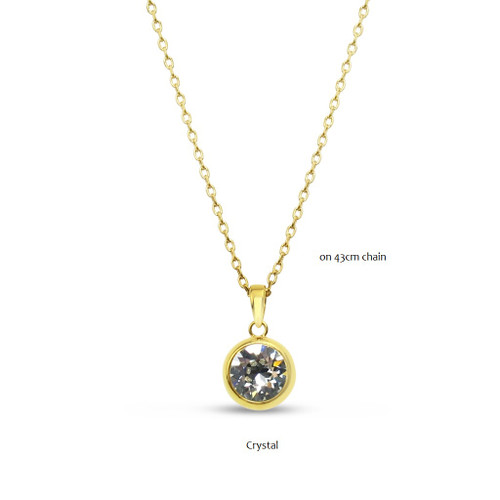 Gold Round Crystal Pendant Necklace
