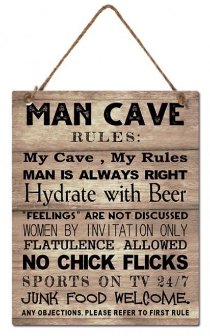 Man Cave Hanging Wooden Plaque