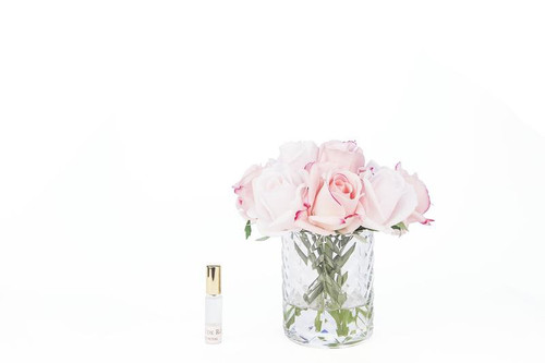 Pink Rose Bud Clear Herringbone Glass
