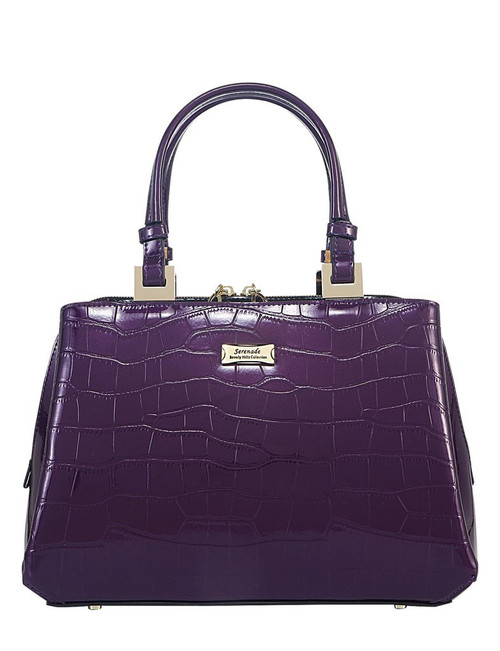 Pandora Leather Bag - Triple Compartment  Purple