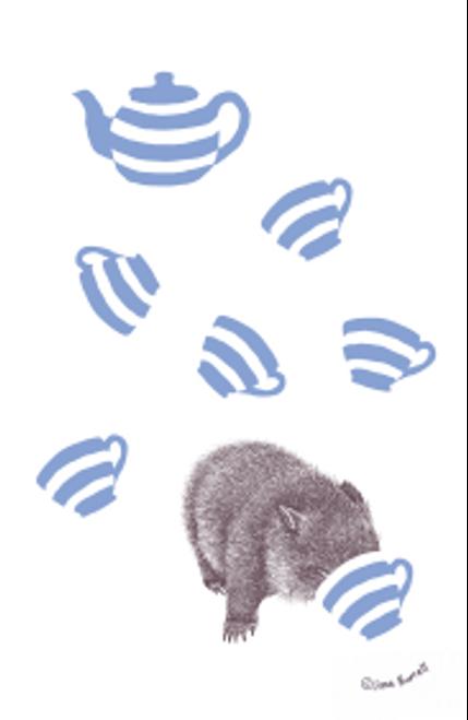 Wombat w/Tea Cups Tea Towel