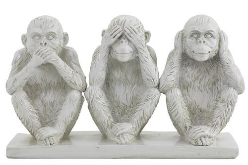 Hear/See/Speak Monkeys White