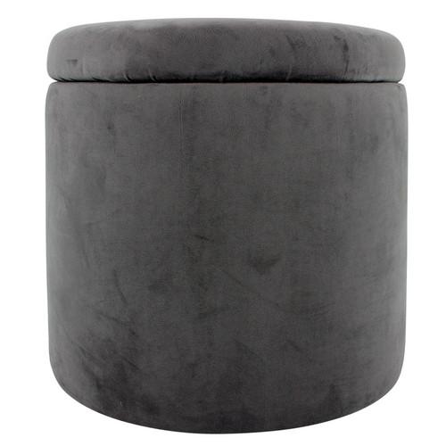 Round velvet Ottoman Grey