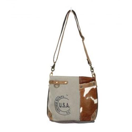 USA Stamp Hairon Pocket Shoulder Bag